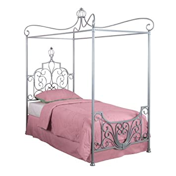 Powell Princess Rebecca Sparkle Silver Canopy Bed Twin  sc 1 st  Amazon.com : canopy beds twin - memphite.com