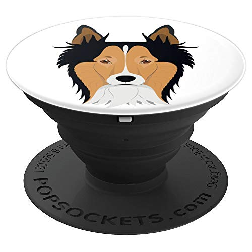 Cute Shetland Sheepdog Brown Black And White Face Pop Socket - PopSockets Grip and Stand for Phones and Tablets