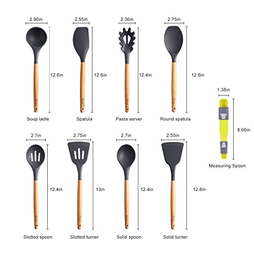 9-Piece Silicone Cooking Utensils Set, Lifelf Premium Non-Stick Heat Resistant Kitchen Utensils Set with Wooden Handles for Cooking Baking BBQ,BPA Free (Dark Gray) by Lifelf (Image #1)