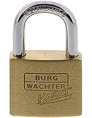 Burg-Wächter 217 Hangslot, met sleutel, 5 mm beugeldikte, massief messing slot, knijpbescherming, gehard