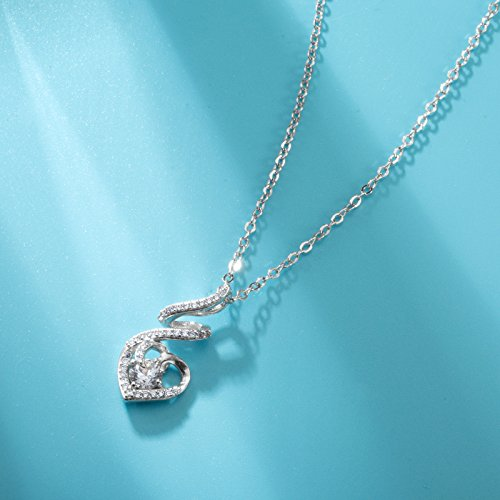 EUDORA Sterling Silver CZ Heart Pendant Necklaces Jewelry for Mother & Daughter,18'' Chain by EUDORA (Image #2)