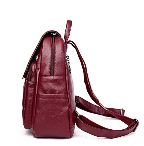Cartable à Backpack Vin Sac Xinwcang Scolaire Femme à dos Voyage Sac Rouge dos Fille Sacs Cuir Loisirs à Bandoulière de CFqqPw0xX
