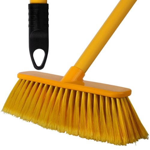 3 Pack Of 28cm Yellow Soft Deluxe Floor Sweeping Brush Brooms With 120cm Handle - Comes With TCH Anti-Bacterial Pen! Robert Scott