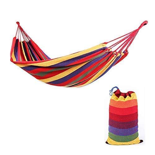 Uso en Interiores o Exteriores Camping Famous Brands Global Hamaca Doble para Viajes Patio Colorida Hamaca de jard/ín a Rayas Fibra de algod/ón Transpirable Bolsa de Transporte incluida Porche