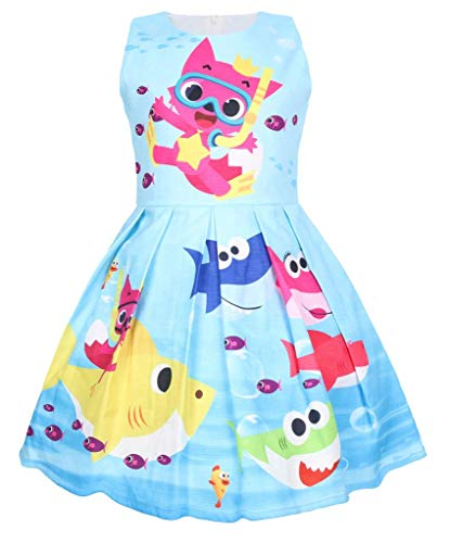 1e3811a0e Coralup Toddler Girls Baby Shark Sleeveless Party Dress Summer Casual  Dresses(18M-6Y)