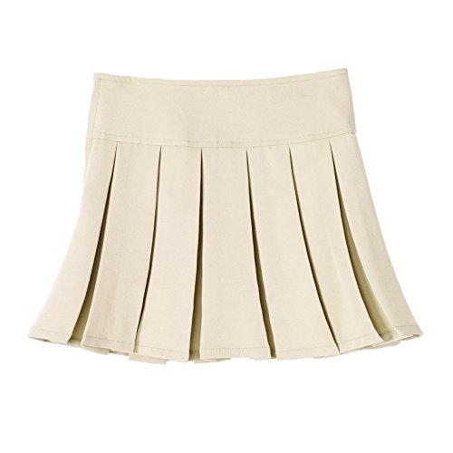 Bienzoe Girl's Stretchy Pleated Adjustable Waist School Uniforms Dance Skirt