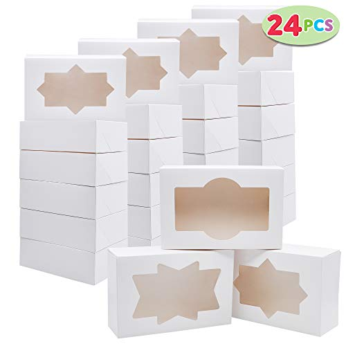 24 PCs Christmas Cookie Bakery Treat Box Set with Window (8.75'' x 5.75'' x 2.75'') for Pastries, Cupcakes, Cookies, Brownies, Donuts Gift-Giving (Chocolate Treats White Christmas)