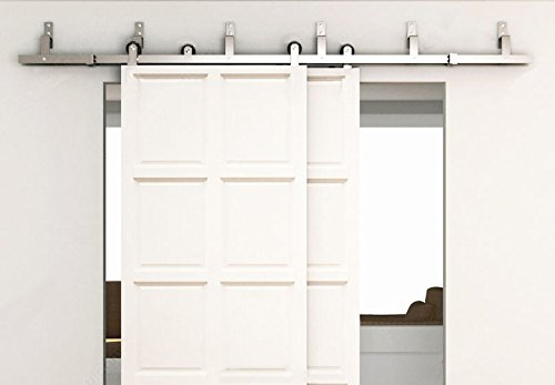 BD-TSSBP # Satin Brushed Stainless Steel Modern Bypass Sliding Barn Door Hardware Kit for Storage Room, Laundry Room, Master Bathroom, Walk-in Closet (Bypass 11FT /3360mm) by amoylimai