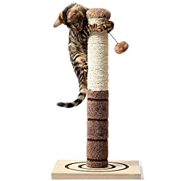 4 Paws Stuff Tall Cat Scratching Post Cat Interactive Toys – Cat Scratch Post Cats Kittens – Plush Sisal Scratch Pole Cat Scratcher – 22 inches (Beige)