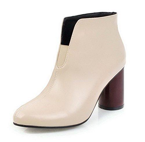 VogueZone009 Damen PU Spitz Zehe Hoher Absatz Ziehen auf Rein Stiefel, Cremefarben, 37