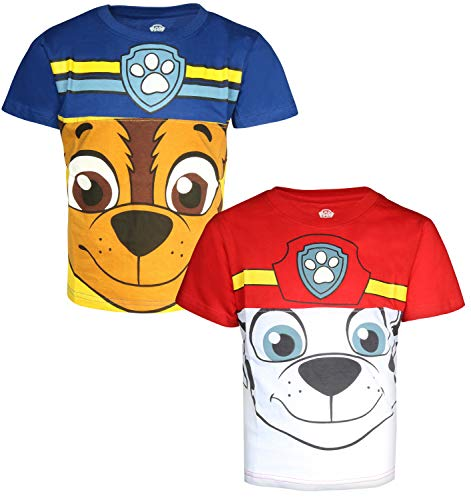 Nickelodeon Paw Patrol Boy's 2-Pack Short Sleeve Fashion T-Shirt (3T, Marshall/Chase)