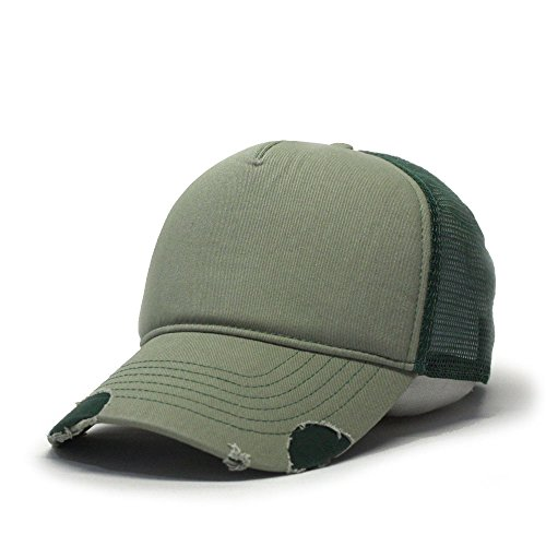 Vintage Year Plain Cotton Twill Mesh Adjustable Snapback Low Profile Trucker Baseball Cap (Various Colors) (Distressed Olive Green/Dark ()
