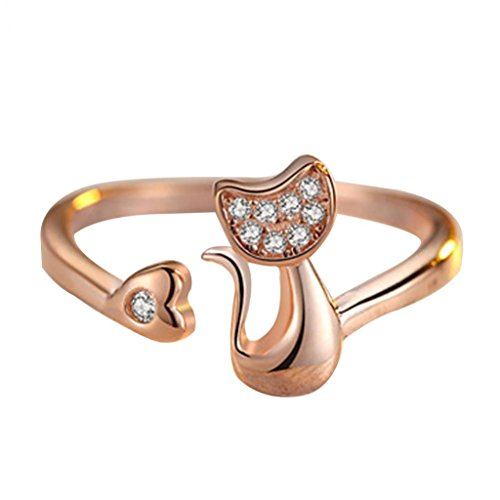 1Pc Cubic Zirconia Animal Cute Little Cat Heart Open Ring Fashion Jewelry - Golden US 7 - Cute Heart Open