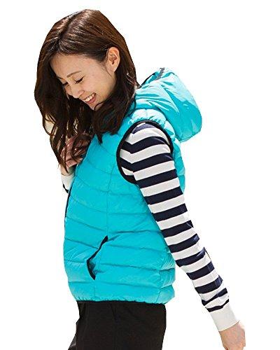仮装大きい保険ダウン80% のフード付ダウンベストカジュアルから普段着までおしゃれでかわいい豊富なサイズのレディース アウターダウンベスト秋口や春先の寒くなる前の着こなしにベスト(M:9号L:11号XL:13号)