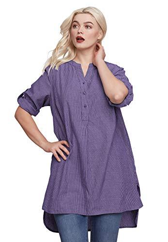 - Ellos Women's Plus Size Striped Henley Tunic - Midnight Violet Stripe, S