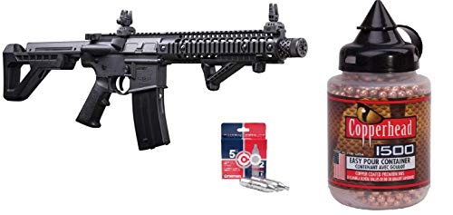 Crosman Full Powered DSBR Auto BB Air Rifle Complete Kit with 5 Count CO2 & 1500 Easy Pour Copperhead BBS