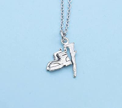 """Hiking boots and walking stick necklace in antique silver pewter on an 18"""" stainless steel cable chain with lobster claw clasp."""