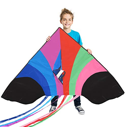 Tomi Kite - Huge Rainbow Kite - Ideal for Kids & Adults - Easy to Launch in Stiff Wind Or Soft Breeze - 60