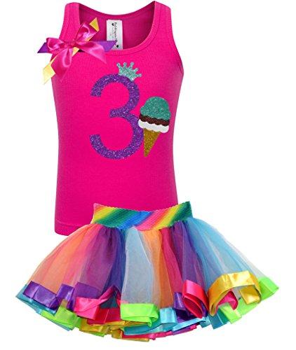 Bubblegum Divas Little Girls' 3rd Birthday Ice Cream Cone Shirt Rainbow Tutu Outfit 3 (Cotton Candy Ice Cream Cones compare prices)