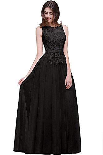 DressyMe Women's Floral Lace Wedding Dresses Prom Gown Floor-Length A-Line-6-Black ()