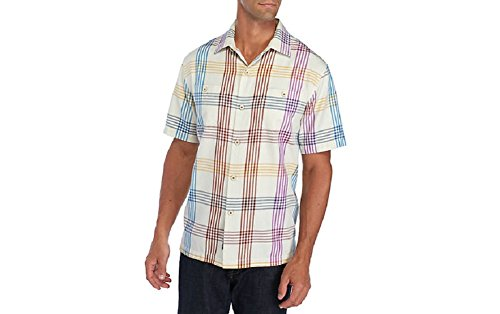 Tommy Bahama Island Zone MO Rockin Plaid Silk Blend Camp Shirt (Color Coconut Cream, Size XXL)
