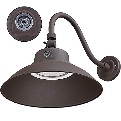 LEONLITE LED 14Inches Gooseneck Barn Light, 42W 5000K Wet Location Rated, Photocell Included Swivel Head Dusk to Dawn Outdoor Wall Light, ETL & Energy Star Certified, 5 Years Warranty-Brown (Best Rated Outdoor Motion Sensor Lights)