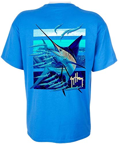 Guy Harvey Ballyhoo T-Shirt - Ocean Blue - Large