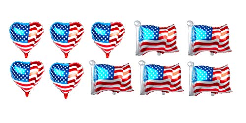 SummitLink Combo Pack of 10 American Flag Balloons PE Helium Foil Balloon Mylar (Two Styles, 5x Heart Shaped 20