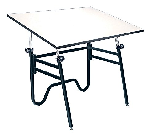 Alvin OP42-3 Opal Table, Black Base White 31 inches x 42 inches by Alvin