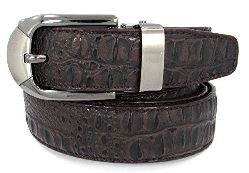 Men's Crocodile Embossed Leather Belt (36, Dark Brown)