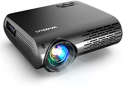 "Native 1080P Projector, WiMiUS Upgrade 7000 Lumens Projector Support 4K 200"" Display, 4D ±50° Keystone Correction, Zoom Function Compatible with TV Stick, PC, Smartphone for Indoor and Outdoor Movie"