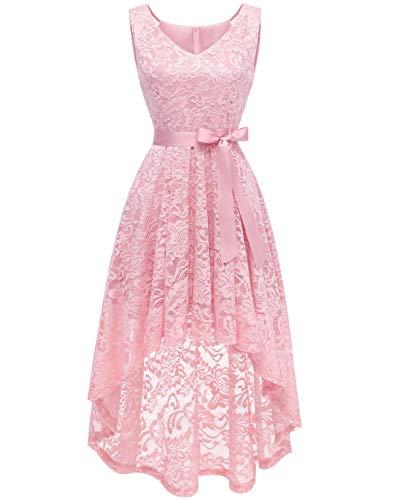 - BeryLove Women's Floral Lace Hi-Lo Bridesmaid Dress V Neck Cocktail Formal Swing Dress BLP7018PinkL