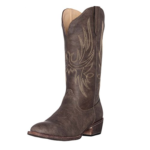 Shaft Women Boots - Women's Western Cowgirl Cowboy Boot | Brown Cimmaron Round Toe by Silver Canyon