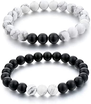 Long Way Distance Bracelets for Lovers-2pcs Black Matte Agate & White Howlite 8mm Beads