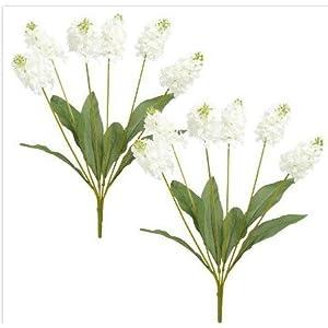 Nantucket Home Hyacinth Artificial Flower Bushels, Set of 2 (White) 41