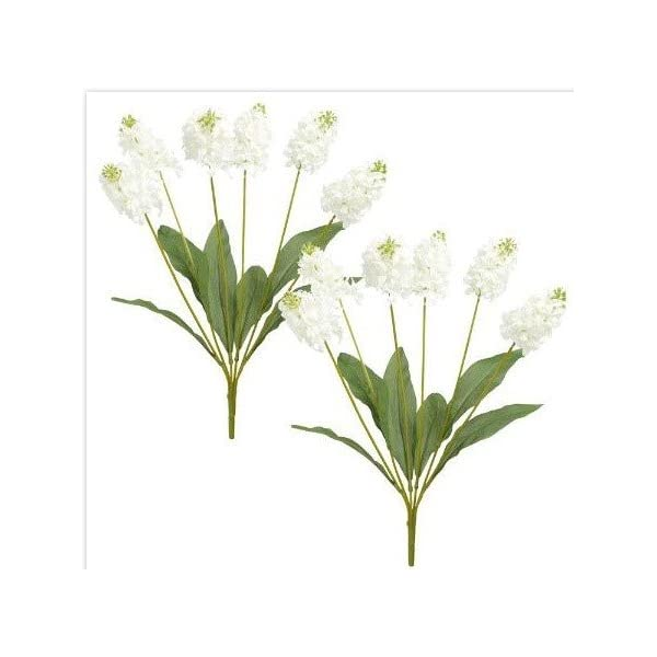 Nantucket Home Hyacinth Artificial Flower Bushels, Set of 2 (White)