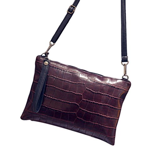 Bag Zipper Messenger Body Fulltime Handbag Women Cross Shoulder Leather Brown TM qfFxwpfOZ