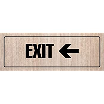 Metal 6 Pack White Oak iCandy Products Inc Exit Right Arrow Business Office Door Building Sign 3x9 Inches