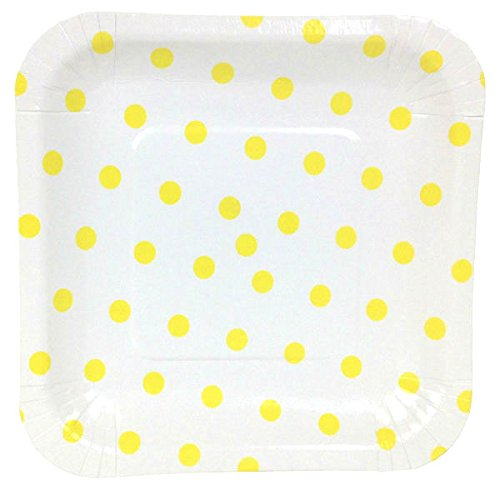 Just Artifacts Square Paper Party Plates 7.25-Inch (12pcs) - Lemon Yellow Polka Dot - Decorative Tableware for Birthday Parties, Baby Showers, Grad Parties, Weddings, and Life Celebrations!