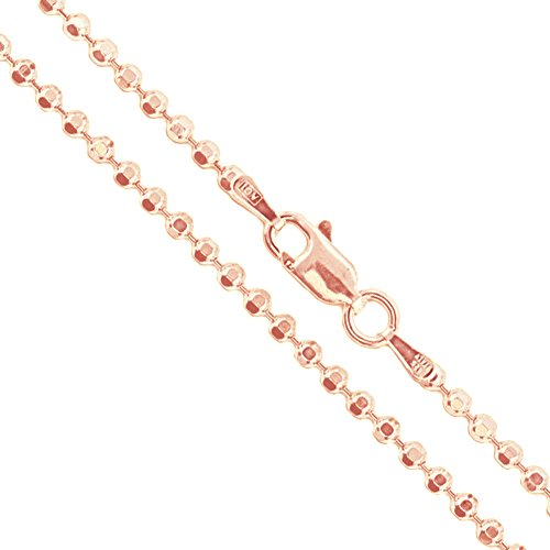 22k Rose Gold Plated Sterling Silver Diamond-Cut Ball Bead Chain 2mm 925 Italy Dog Tag Necklace 18