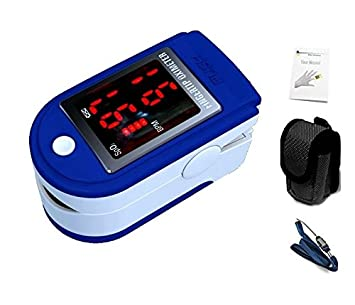 oxímetro de pulso y monitor de ritmo cardíaco de dedo , correa y estuche - azul oscuro [version:x6.5] by DELIAWINTERFEL