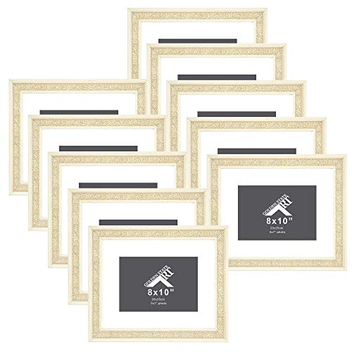 Golden State Art, Set of 10, 8x10 Distressed Cream Frame for 5x7 Photo with White Mat, Table-Top Easel Stand, Real Glass (with Ornate Panel) (10)