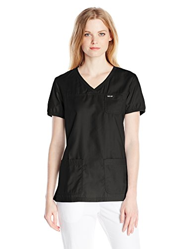 KOI Women's Nicole Super Comfy Pullover Style Scrub Top with Rib Trim, Black, Small by KOI Medical