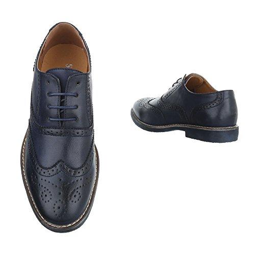 Ital-Design - Zapatos Planos con Cordones Hombre azul oscuro