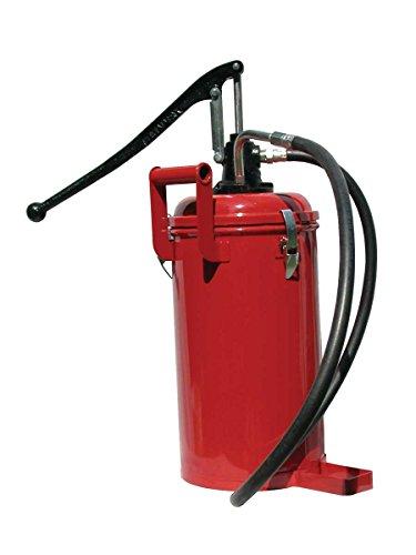 Manual Oil Bucket Pump w/30lb (13.6KG) Steel Bulk Fill Container & Curved Nozzle (self enclosed unit)