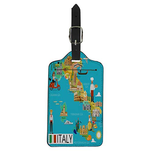Semtomn Luggage Tag Milan Map of Italy and Travel Italian Cartoon City Suitcase Baggage Label Travel Tag Labels