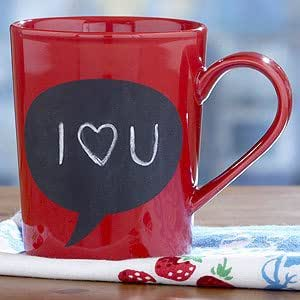 Amazon Com Red Chalk Talk Mug Coffee Cups Mugs