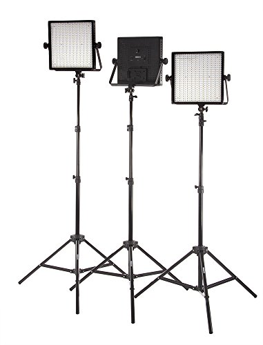 StudioPRO (Set of 3) S-600B Dimmable 600 LED Photography Lighting Panel and Light Stand Kit - Continuous 3200K-5600K Bi Color LED - Photo, Video & Film Studio Lighting Kit (Barndoors are sold separately) by Fovitec