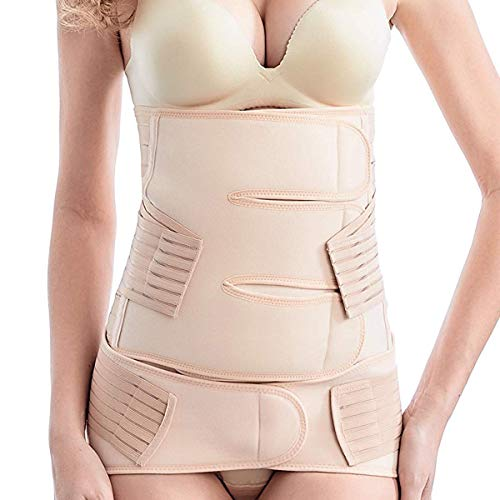 Postpartum Belly Wrap, 2 in 1 Postnatal Belt C-section Recovery Wasit/belly/pelvis Girdle Post Pregnancy Body Shaper Girdle After Delivery (Nude, One size)
