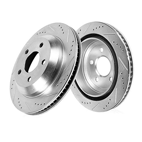 Callahan CDS04032 REAR 344.94mm Drilled & Slotted 5 Lug [2] Rotors [ fit BMW 535 550 640 650 740 Series ]